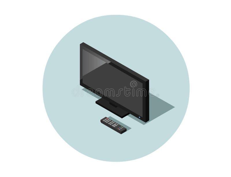 Vector a ilustração isométrica da tevê preta do tela plano com controlador remoto ilustração do vetor