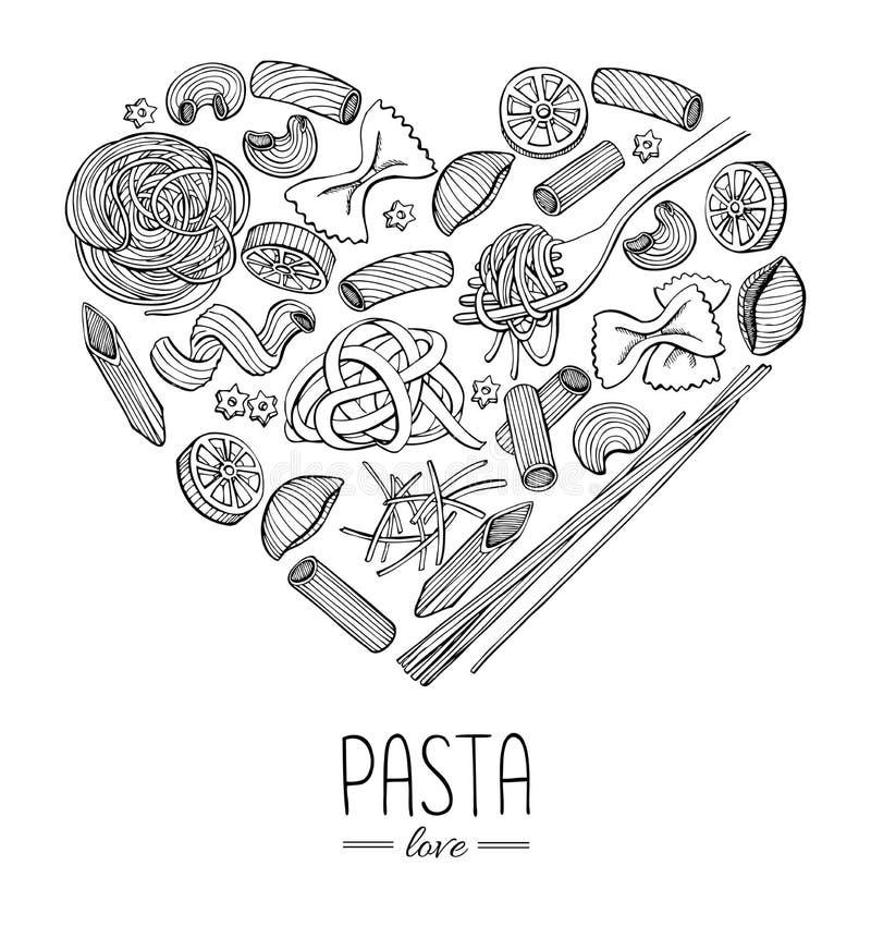 Vector a ilustração italiana do restaurante da massa do vintage no coração sh ilustração royalty free
