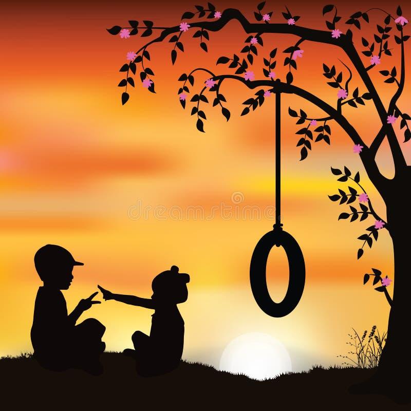 Vector a ilustração, jogo de crianças sob uma árvore ilustração do vetor
