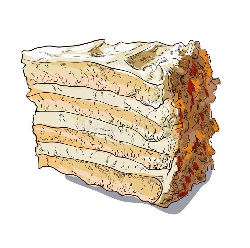 Vector a ilustração linear da cor da fatia de tarte de abóbora na placa ilustração do vetor