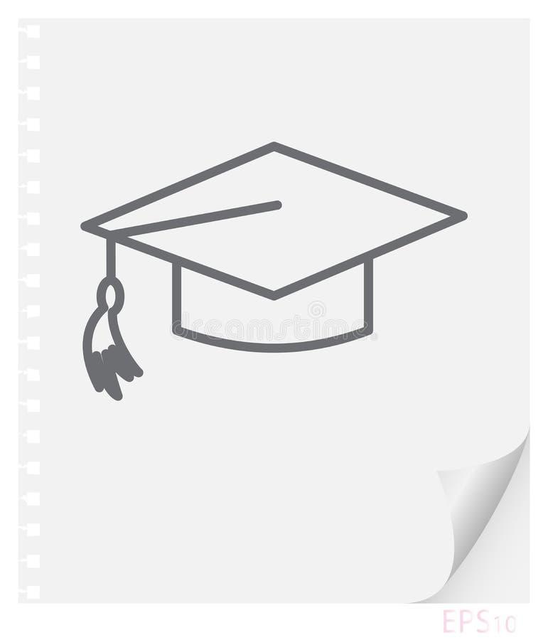 Vector a ilustração linear de um schoolbag graduado com uma borla em uma folha de papel com um canto curvado e furos das molas, ilustração do vetor