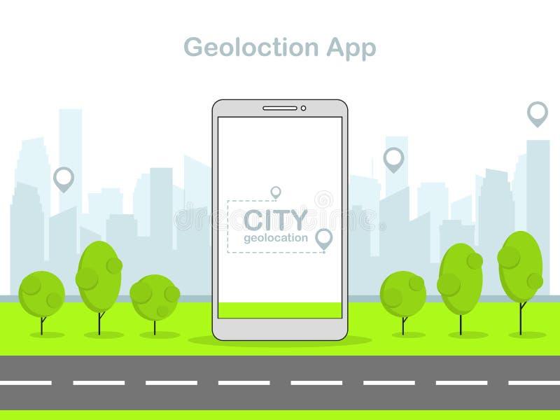 Vector a ilustração linear lisa, geolocation móvel app, fundo moderno da cidade ilustração do vetor