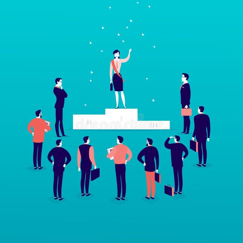 Vector a ilustração lisa com a senhora bem sucedida do negócio que está no pódio na frente dos homens do escritório e os homens d ilustração do vetor