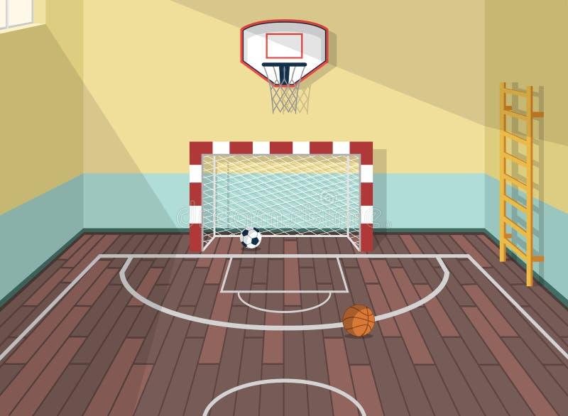 Vector a ilustração lisa da sala do esporte no instituto, faculdade, universidade, escola Bolas do basquetebol, do futebol e de f ilustração stock