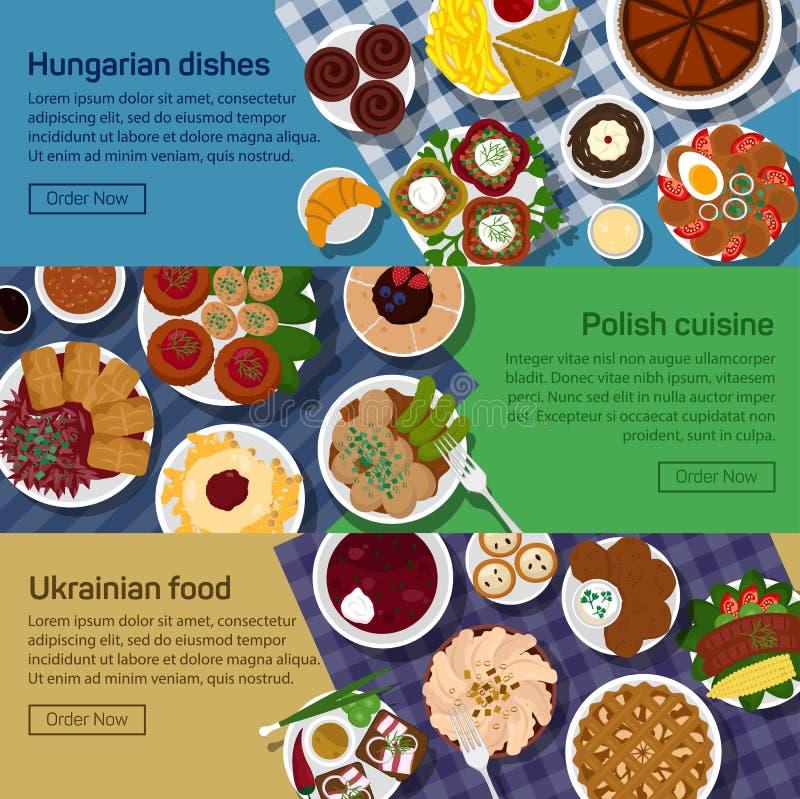 Vector a ilustração lisa de pratos nacionais ucranianos, húngaros, poloneses ilustração do vetor