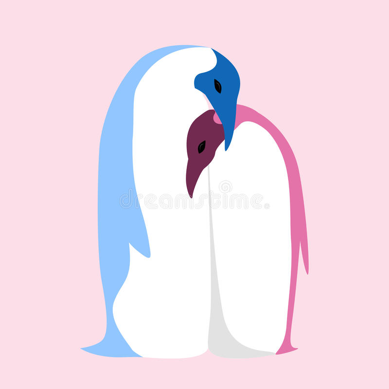 Vector a ilustração lisa de um par de pinguins ilustração do vetor