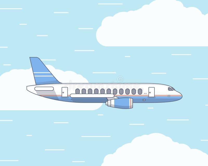 Vector a ilustração lisa de um plano no céu e imagem de stock royalty free
