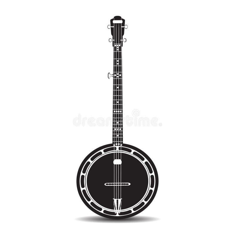 Vector a ilustração lisa do banjo, instrumento musical ilustração royalty free