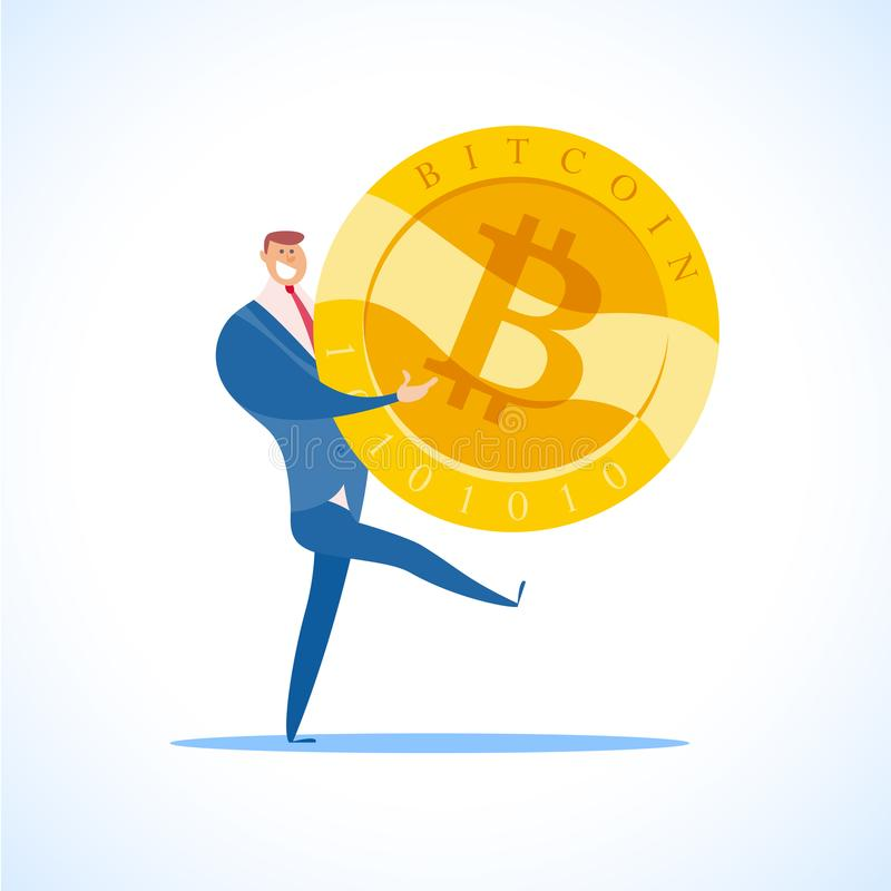 Vector a ilustração lisa do bitcoin e do homem de negócios bem sucedido no fundo branco ilustração do vetor