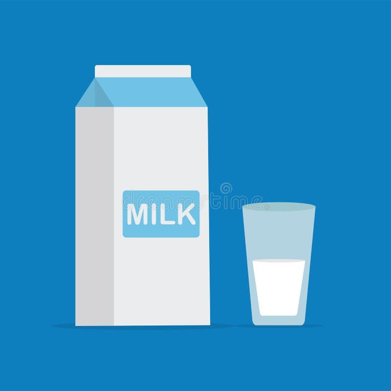Vector a ilustração lisa do estilo da embalagem do leite e de um vidro do leite no fundo azul Ícone para a Web ilustração stock