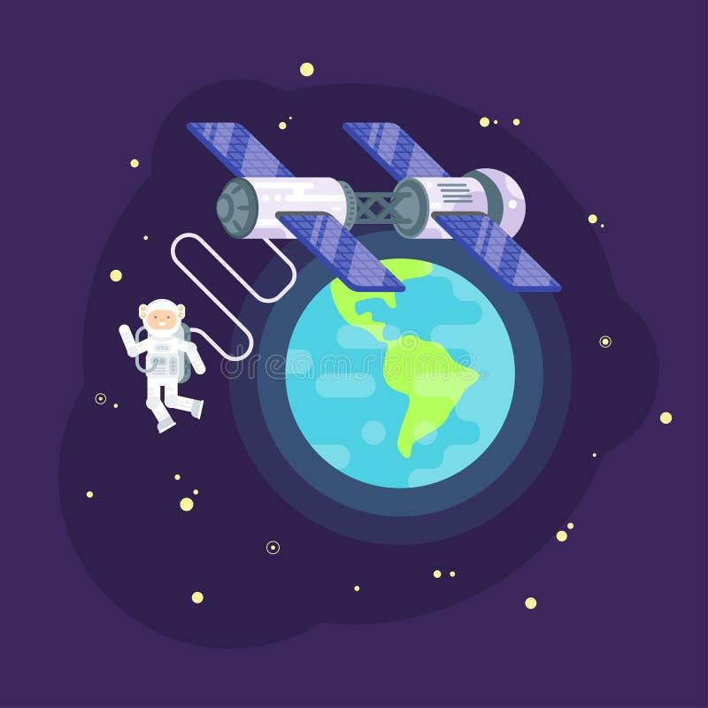 Vector a ilustração lisa do estilo da estação espacial e do astronauta ilustração royalty free