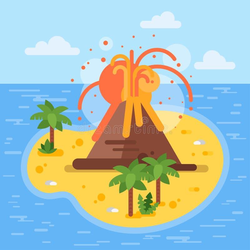 Vector a ilustração lisa do estilo do vulcão na ilha tropical ilustração royalty free