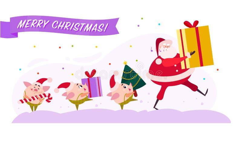 Vector a ilustração lisa do Feliz Natal com Santa Claus e o duende bonito do porco que andam com caixa de presente atual, a árvor ilustração stock