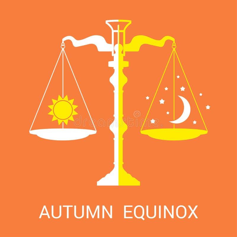 Vector a ilustração lisa do outono ou do equinócio de queda ilustração royalty free
