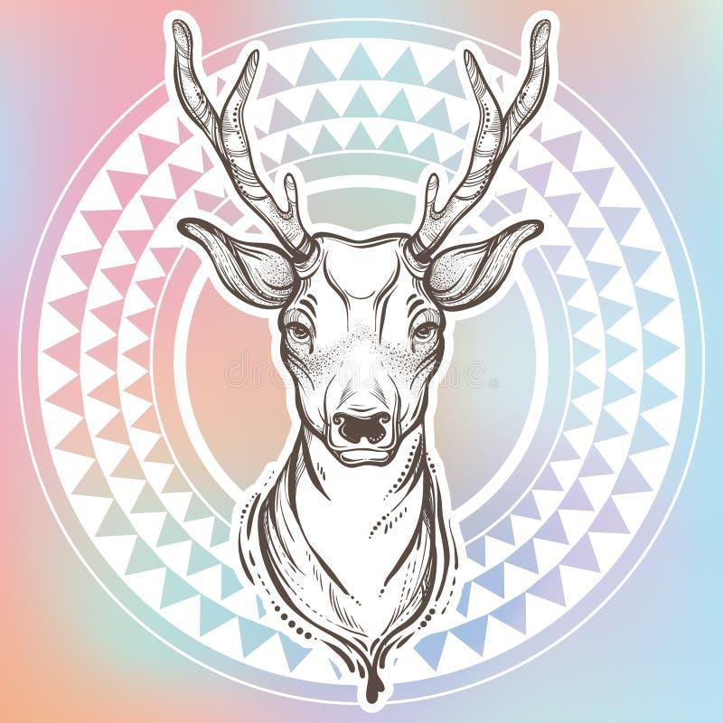 Vector a ilustração na moda com os cervos do estilo do esboço e teste padrão redondo étnico ao redor arte finala tribal Tatuagem, ilustração do vetor