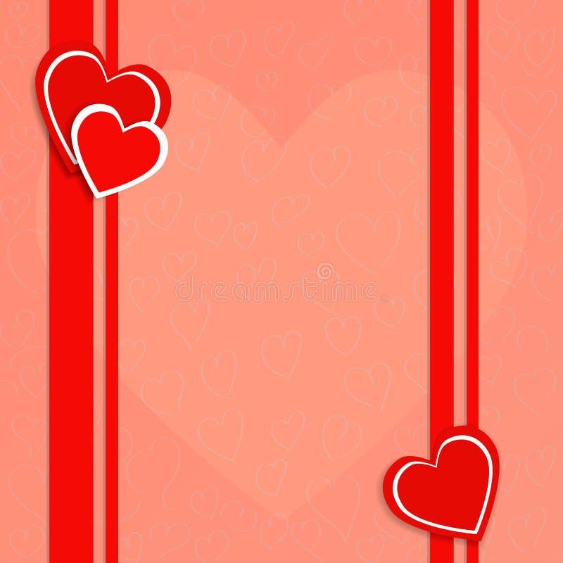 Vector a ilustração no dia do ` s do Valentim com corações vermelhos imagem de stock royalty free