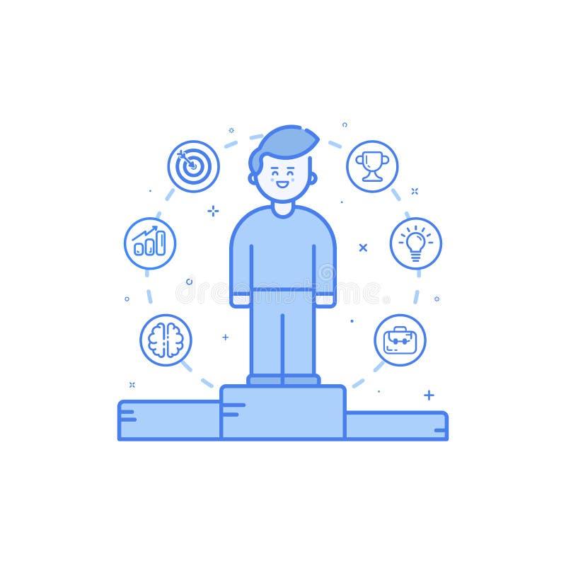 Vector a ilustração no estilo linear corajoso liso com menino e ícones azuis ilustração do vetor