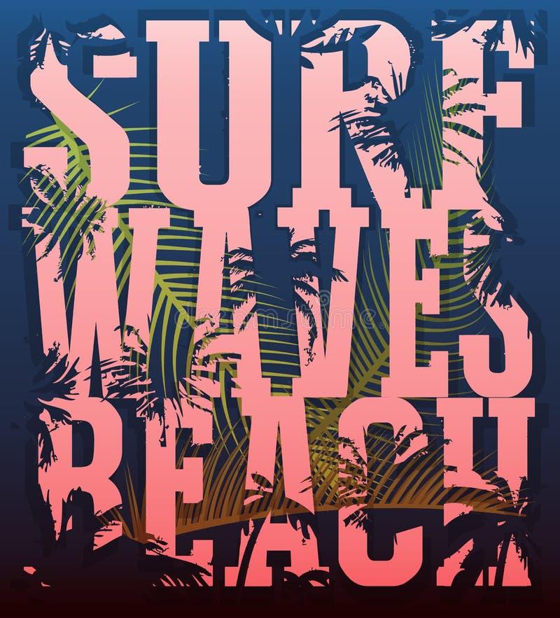 Vector a ilustração no tema da ressaca e de surfar CCB do Grunge ilustração royalty free