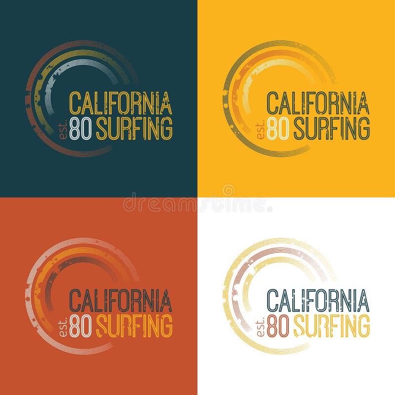 Vector a ilustração no tema de surfar em Califórnia ilustração do vetor