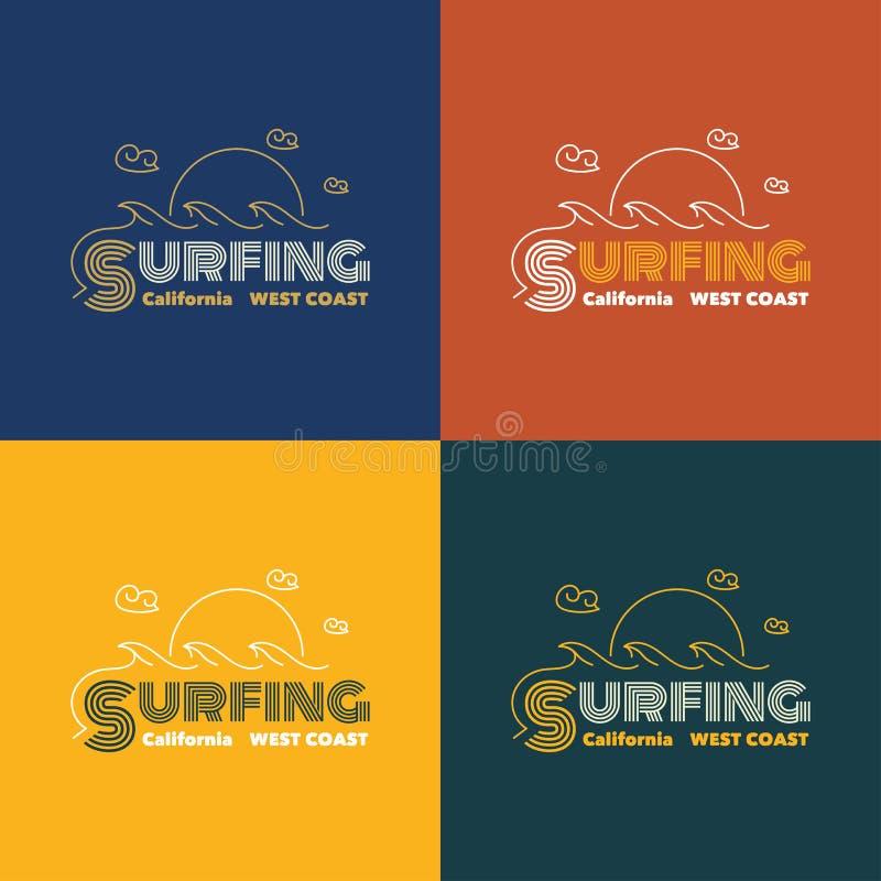 Vector a ilustração no tema de surfar em Califórnia ilustração royalty free