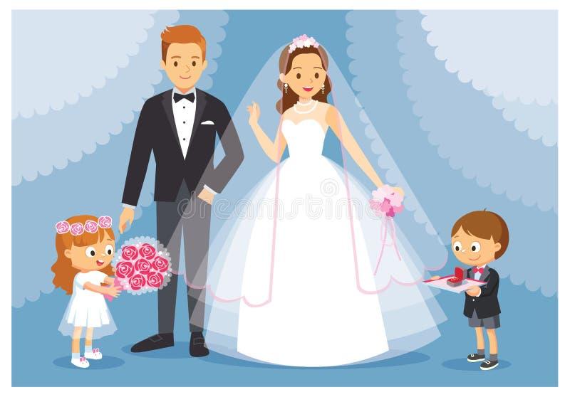 Vector a ilustração o casamento com a noiva e o noivo O menino e a menina atuam como damas de honra, groomsmen ilustração stock