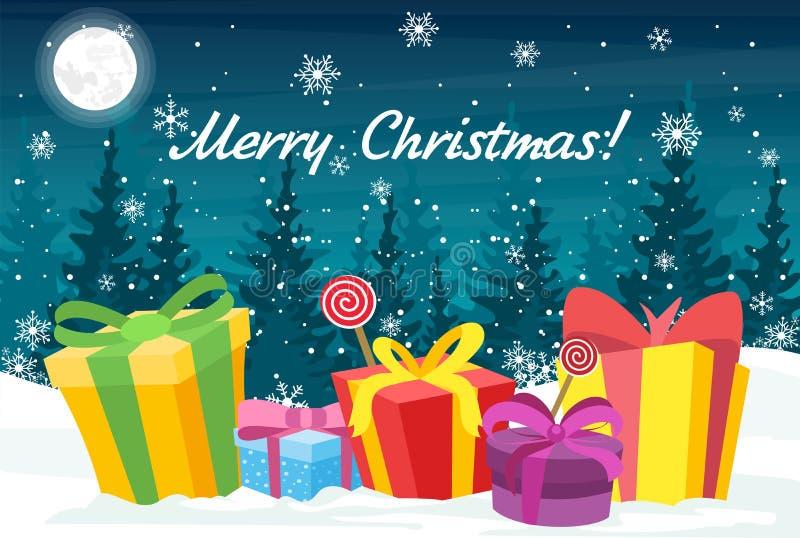 Vector a ilustração para o cartão com os presentes do Natal em umas caixas brilhantes e no ano novo feliz do texto Árvores e neve ilustração do vetor