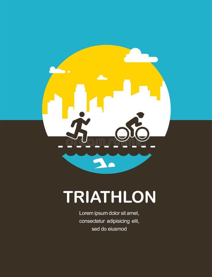 Vector a ilustração para o cartaz do triathlon, projeto liso ilustração royalty free