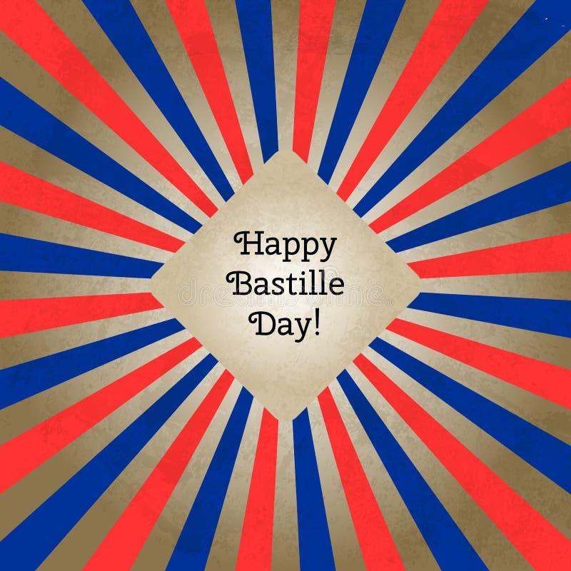 Vector a ilustração para o dia de Bastille, cartão retro do estilo Projete o molde para o cartaz, bandeira, flayer, cumprimentand ilustração royalty free