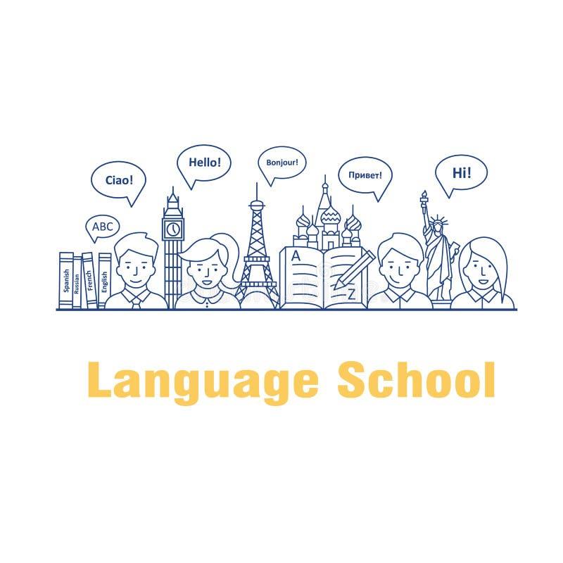 Vector a ilustração para os cursos e as escolas de línguas ilustração do vetor