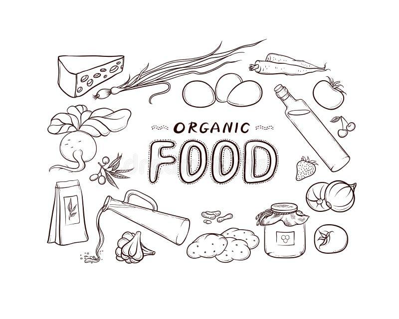 Vector a ilustração preto e branco do esboço de produtos naturais orgânicos de um grupo, situada sob a forma dos quadros, das eti ilustração royalty free