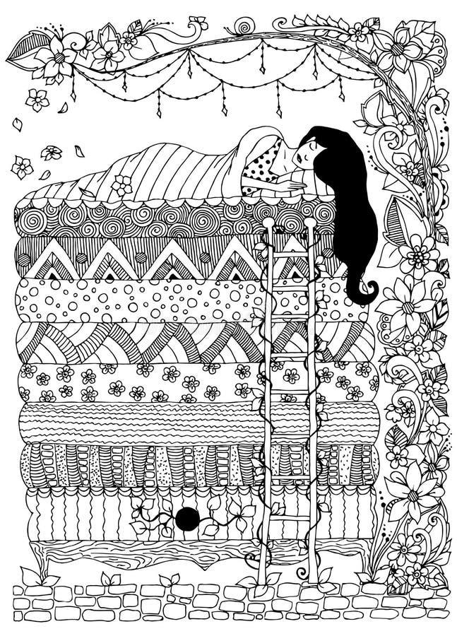 Vector a ilustração, princesa o zentangle da ervilha, dudling, rabisca o zenart da arte Menina de sono, quadro floral adulto ilustração royalty free