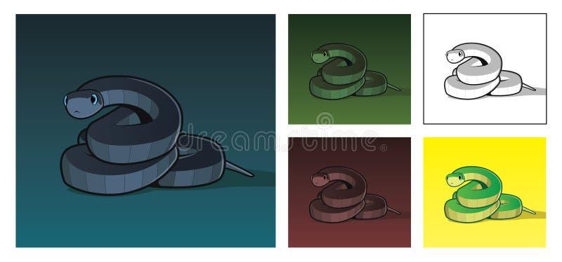 Vector a ilustração realística da serpente em cores diferentes ilustração royalty free