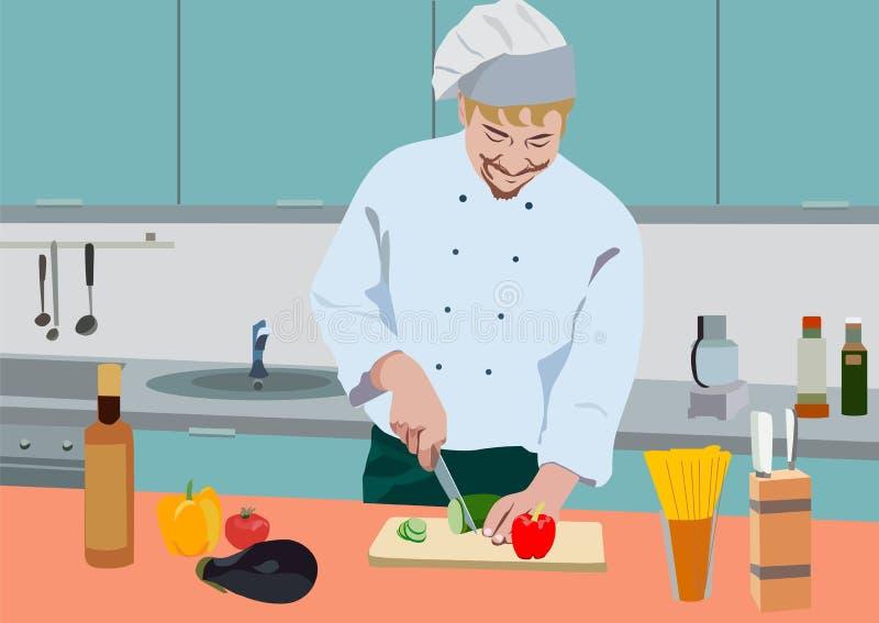 Vector a ilustração realística do cozinheiro na cozinha foto de stock
