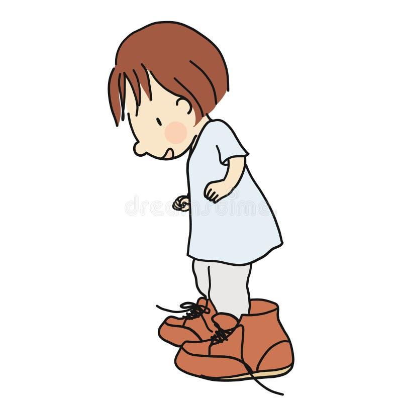 Vector a ilustração sapatas de couro marrons grandes s do paizinho vestindo da criança de `` ilustração royalty free