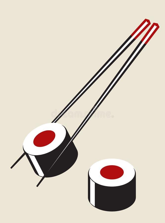 Vector a ilustração simples do sushi ilustração stock
