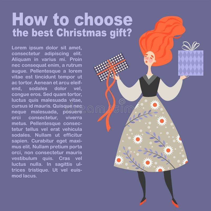 Vector a ilustração sobre a escolha do melhor presente do Natal Menina engraçada com as duas caixas em suas mãos ilustração royalty free