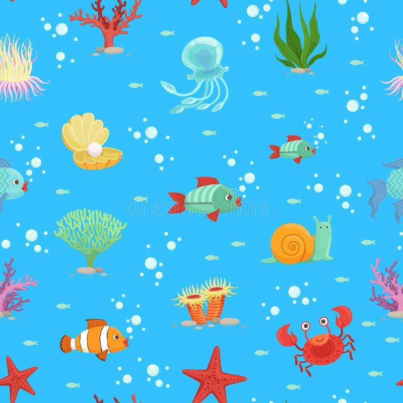 Vector a ilustração subaquática das criaturas dos desenhos animados e do teste padrão ou do fundo da alga ilustração royalty free