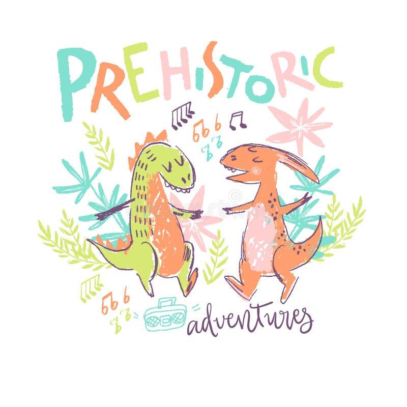 Vector a ilustração tirada criança com pares de dinossauro bonito da dança ilustração royalty free