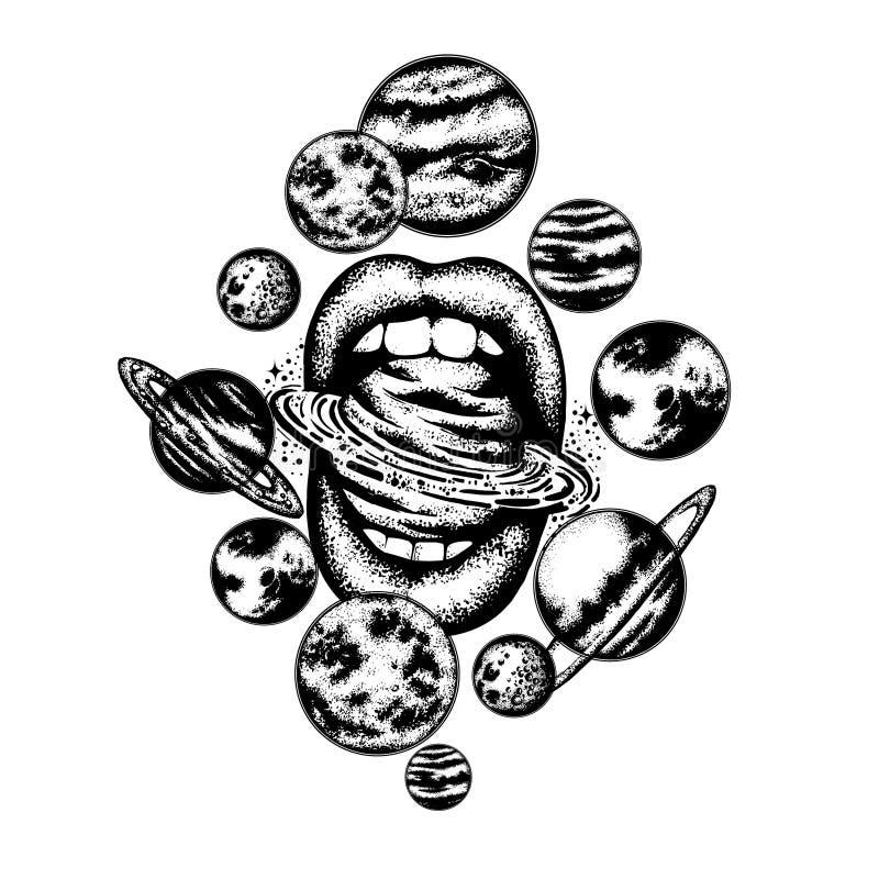 Vector a ilustração tirada mão da boca do ` s das mulheres com planetas, sol e lua ilustração royalty free