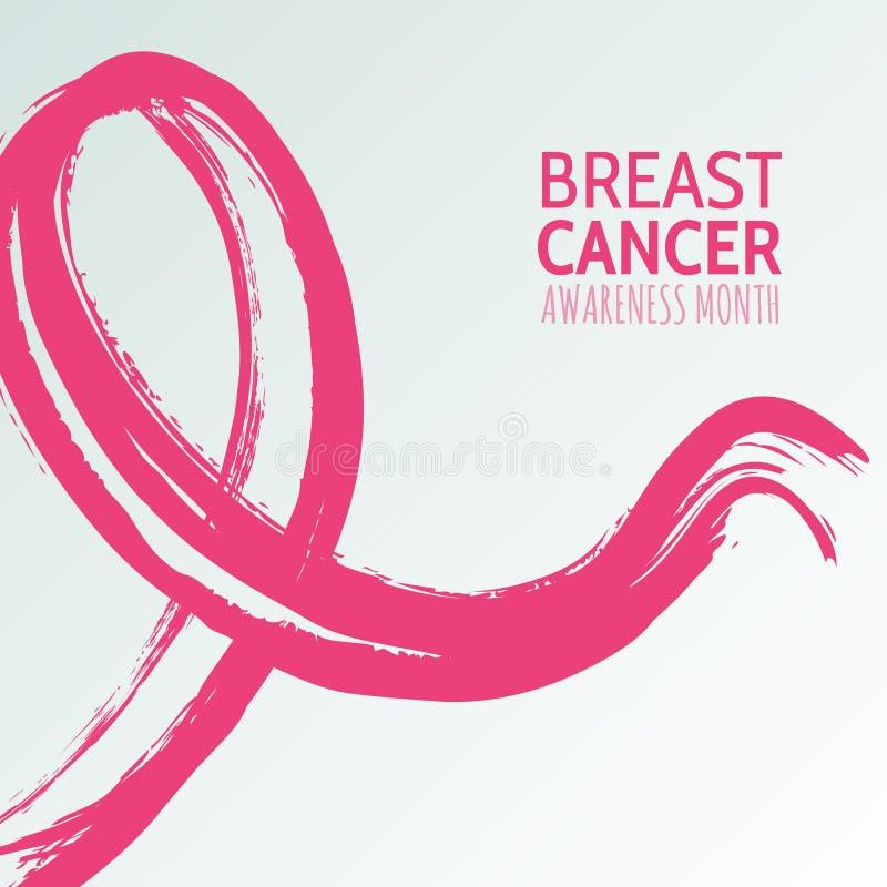Vector a ilustração tirada mão da fita cor-de-rosa, mês da aquarela da conscientização de outubro do câncer da mama ilustração royalty free
