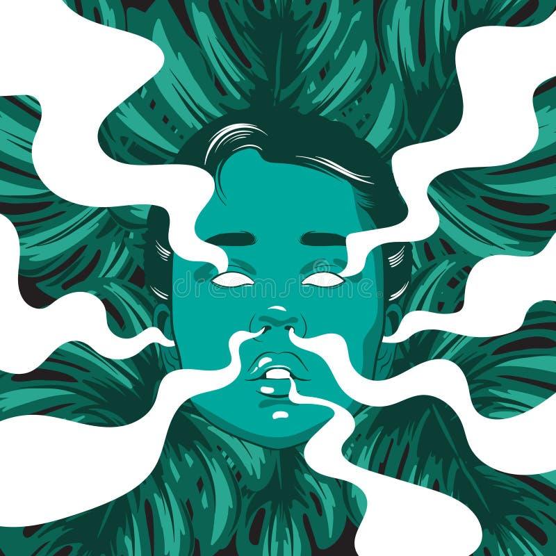 Vector a ilustração tirada mão da menina com fumo das orelhas, dos olhos, do nariz, da boca e das folhas de palmeira ilustração royalty free
