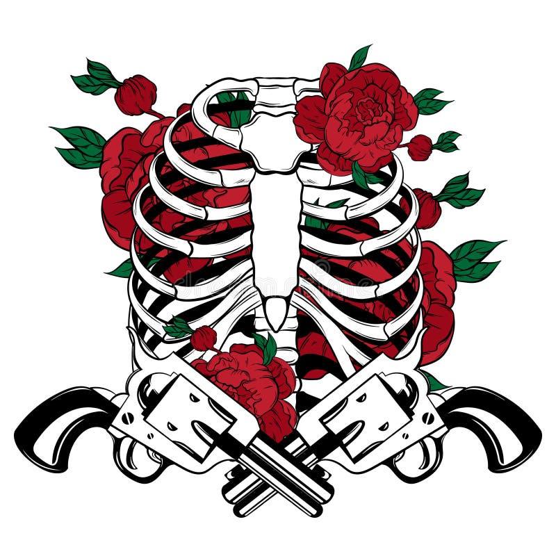 Vector a ilustração tirada mão de reforços humanos com as flores e as armas isoladas ilustração royalty free