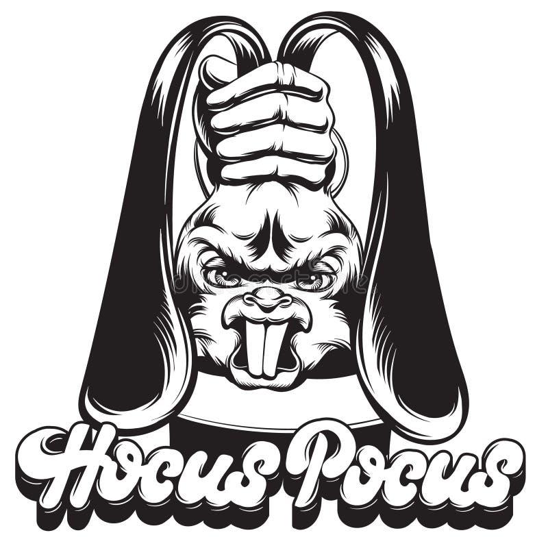 Vector a ilustração tirada mão do coelho irritado com mão do mágico ilustração royalty free