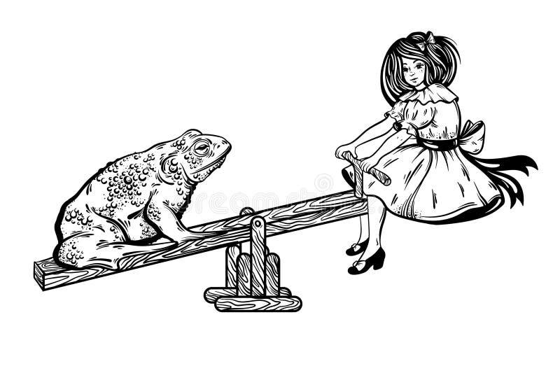 Vector a ilustração tirada mão do sapo feio com a menina bonita no balanço ilustração stock