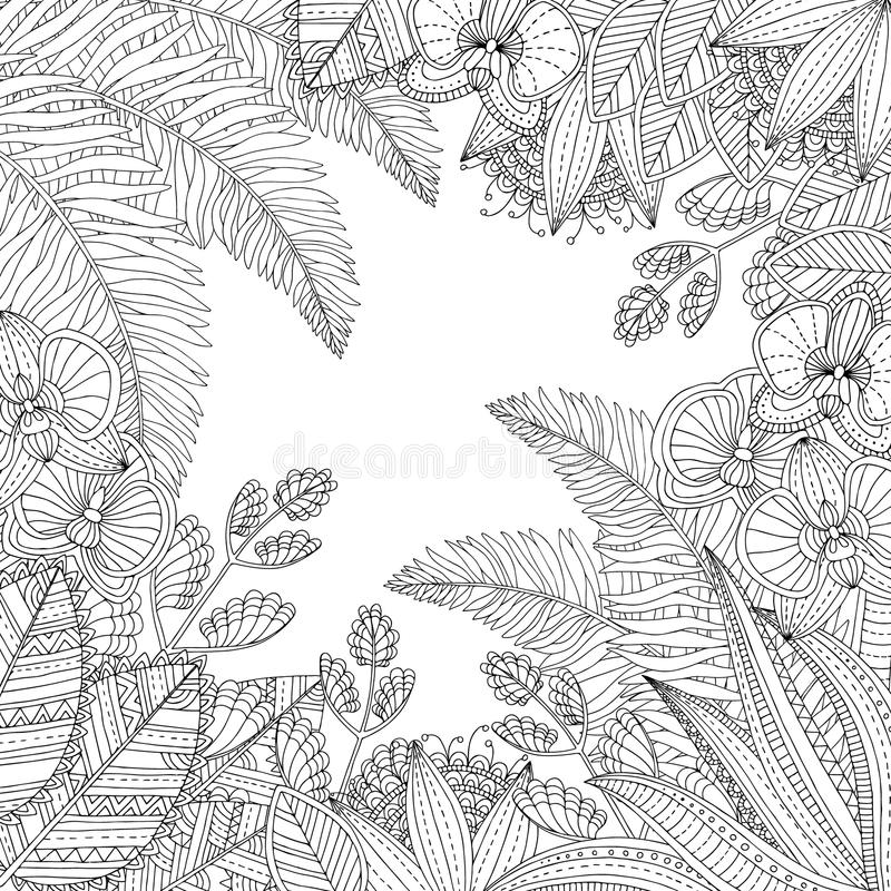 Vector a ilustração tropical tirada mão com folhas e as flores exóticas para o livro para colorir adulto Esboço a mão livre para ilustração do vetor