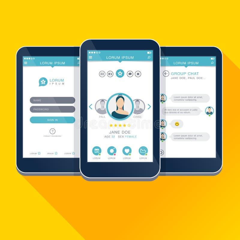 Vector a ilustração UI, UX, telas móveis do projeto do app do conceito do GUI ilustração stock