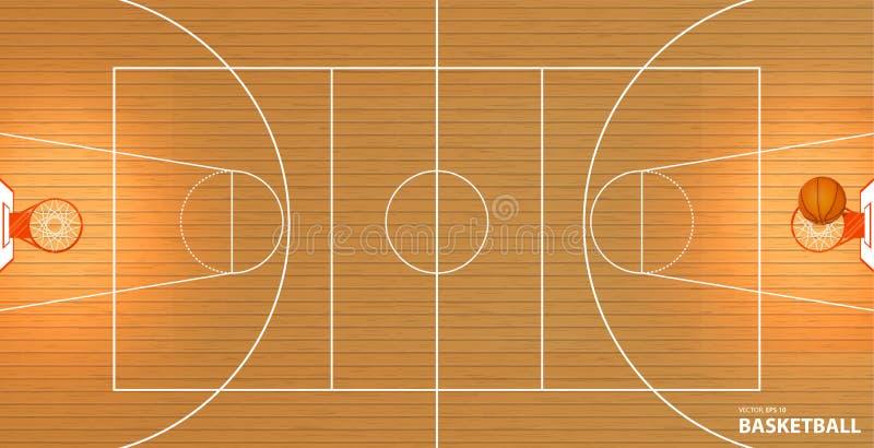 Vector a ilustração um campo de básquete, vista superior, uma bola em uma cesta ilustração royalty free