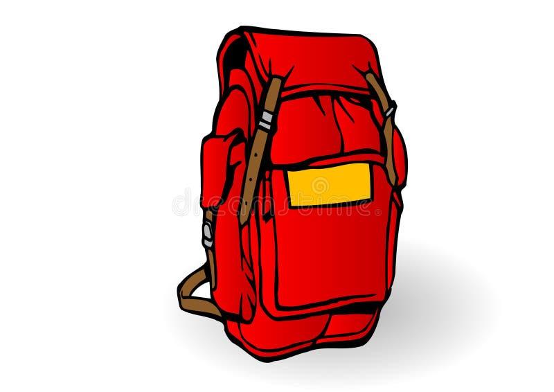 Vector a ilustração uma trouxa vermelha do turista ilustração do vetor