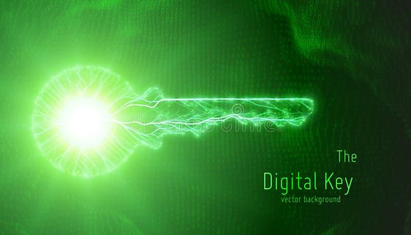 Vector a ilustração verde da chave do cyber no fundo binário Conceito da segurança do cyber e da proteção de dados grande moderno ilustração stock