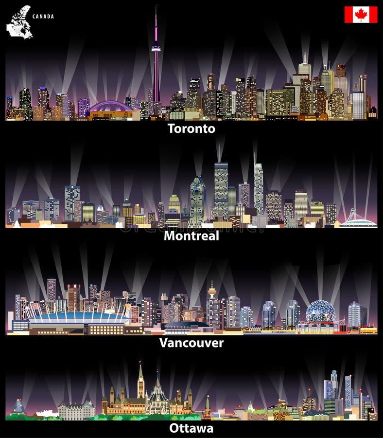 Vector ilustrações de cidades canadenses Toronto, de skylines abstratas de Montreal, de Vancôver e de Ottawa na noite com mapa e  ilustração do vetor